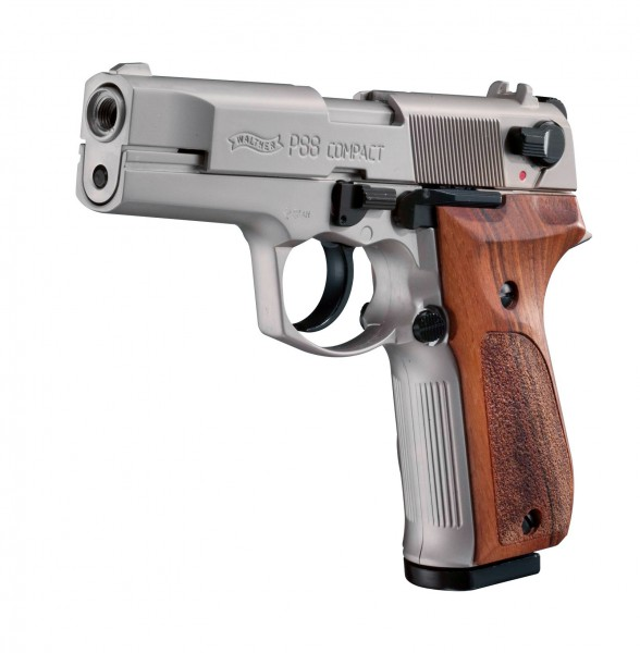 Walther P88 cal. 9 mm P.A.K. - Nickel / Holz